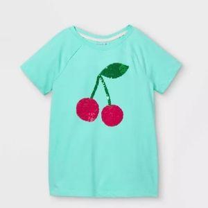 Girls Short Sleeve Flip Sequin Cherries T-Shirt